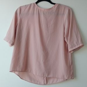 💙 asos light pink silky t shirt style blouse